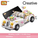 LOZ Mini Building Blocks White wedding car Assemable Kids Educational Toys for Children Creator Technic Girl Play House