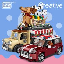 LOZ Technic Mini Building Blocks Hot Dog Cart Car Vehicle Assemable Kids Educational Toys for Children Creator Ice Cream Truck