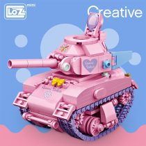LOZ Mini Building Blocks Pink Tank Cute Turn Assemable Kids Educational Toys for Children Creator Technic Girl Play House