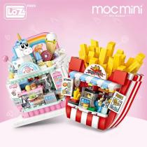 LOZ Mini Cake Shop French Fries Shop Blocks building toys Plastic Assembly Blocks Children Toy DIY Architecture Scenes Model