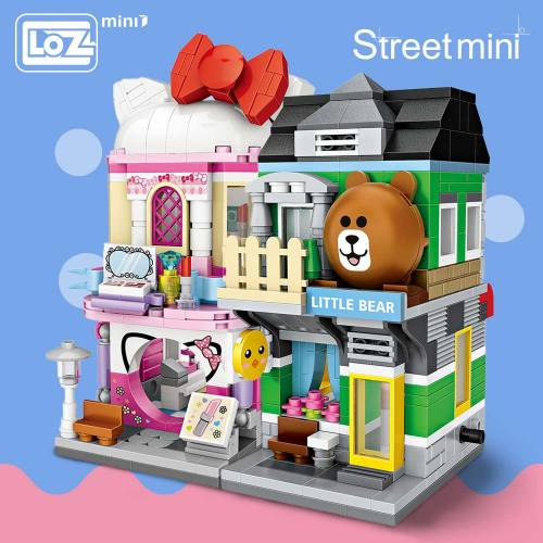 LOZ Mini Block Mini Street City 3d Building Blocks House Cartoon Shop Model DIY Assembly Toys for Children Educational Anime Fun