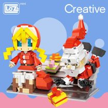LOZ ideas Mini Block Artwork Rooftop Christmas Theme Santa Claus Gift Little Girl Building Blocks DIY Toys Figurines Dolls 1210