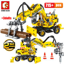 SEMBO BLOCKS City Engineering Truck Forklift Building Blocks Technic Car Construction Vehicle Bricks Toys for Children