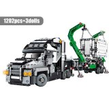 SEMBO 1202pcs City Big Truck Engineering Buiding Blocks Technic Mark Container Vehicles Car Figures Bricks Toys For Children