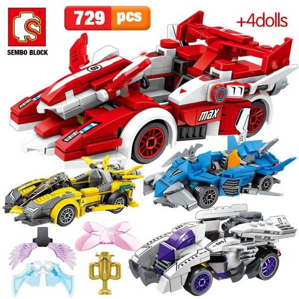 SEMBO 729pcs Creator Series City Car Assembly Building Blocks Technic Racing Car MOC Model Bricks Toys for Children Gift