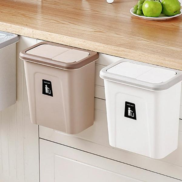 Push-top Trash Can Hanging Automatic Return Lid for Fruit and Vegetable Pericarp