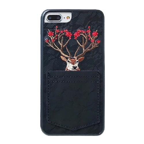 Elk Embroidery Christmas Phone Case