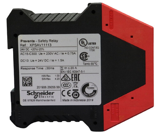 SCHNEIDER ELECTRIC XPSAV11113 Safety Relay,In 24VDC,2.50A