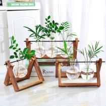 Hydroponic Plant Wooden Frame Vase