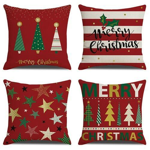 4 Pack Wine Red Christmas Tree Pillow Cushion Covers