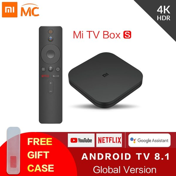 Original Global Xiaomi Mi TV Box S 4K Ultra HD Android TV 8.1 HDR 2G 8G WiFi Google Cast Netflix Smart TV Mi Box 4 Media Player