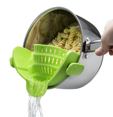 Snap 'N Strain Strainer, Clip On Silicone Colander, Fits All Pots and Bowls