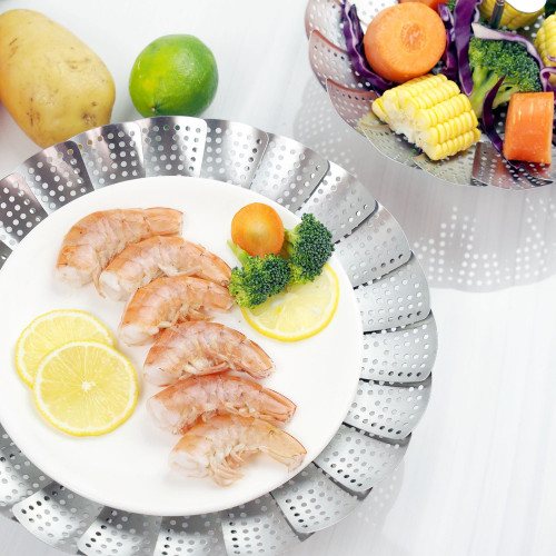 Food grade stainless steel folding steamer basket BPA FREE