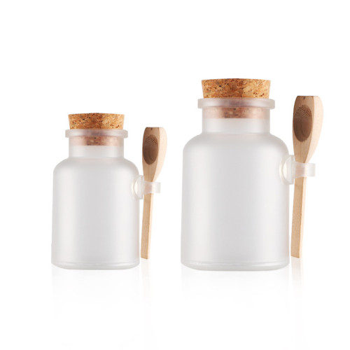 bath salt Bottle 200ml powder plastic bottle with cork bath salt jar with wood spoon LLFA