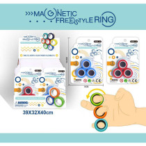 Magnet Toys, Fidget Spinner, Stress Relief Magnetic Ring Finger Spinning in the Air, Colorful Magnetic Rings Fidget Toy, Anti-stress Fidget