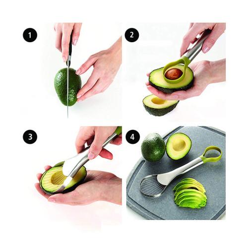 Stainless steel avocado slicer