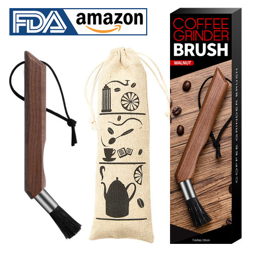 Coffee grinder brush walnut