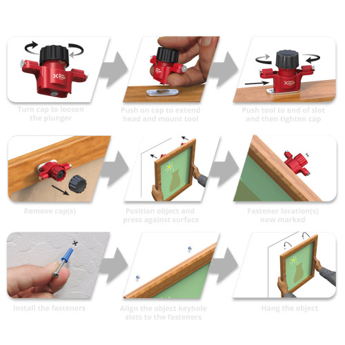 No Measuring Needed to Mark Keyhole Slot Fastener Locations on Walls, Cabinets,etc - Unique reusable tool for use w/objects having integrated or added keyhole slots/keyhole hangers