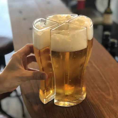Super Schooner Beer Cup Mug Cup Separable 4 part Large Capacity Fall Resistant Thick Beer Mug Cup Transparent for Club Bar Party Home