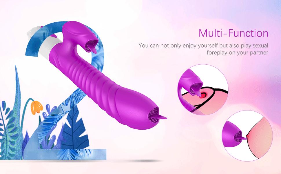VIBRO© G Spot Rabbit Vibrator-Vibrating 2 Tongues for Clitoris Stimulation