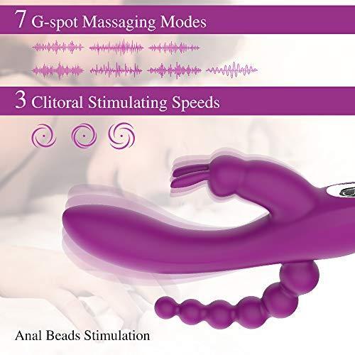 VIBRO© 3 in 1 G-Spot Rabbit Anal Dildo Vibrator with 7 Vibrating Modes