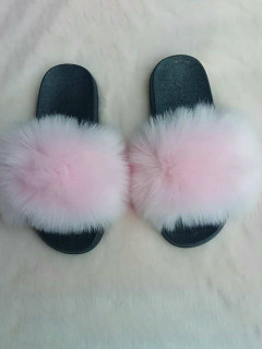 Stylish Solid Fur Patchwork House Slippers