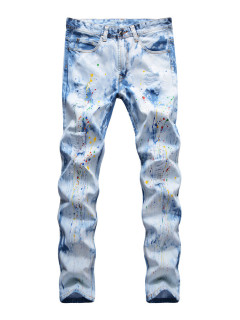 Street Wear Inks Printed Straight Leg Jeans