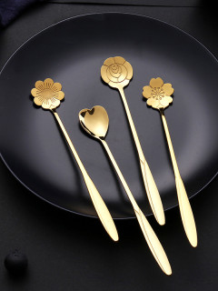 4 Pcs Long Handle Stainless Steel Coffee Spoon Cherry Blossom Spoon