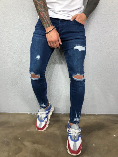 Trendy Solid Holes Ripped Boyfriend Jeans