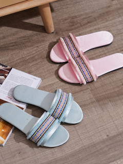 Tribal Printed Tassels Patchwork House Slippers
