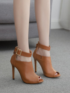 Hollow Out Metal Buckle Zipper Peep Toe Ankle Boots