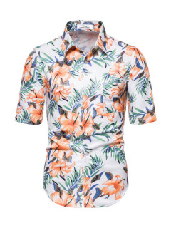 Botanic Printed Turn-Down Collared Short Sleeve Shirt