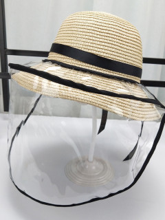 Straw Tie Bow Summer PVC Cover Protective Hat For Kid And Adult