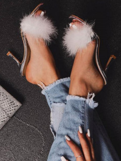 Casual Mid Heel Fluffy Slippers