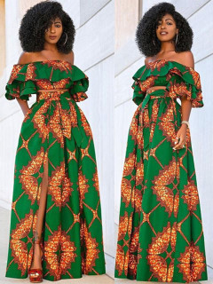 Ruffle Detail Tie-Wrap Vintage Print Two Piece Skirt Sets
