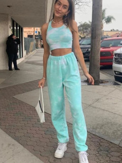 Casual Loungwear Tie Dye Cropped Two Piece Sets