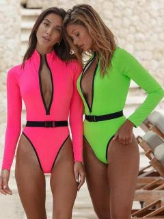 Fluorescent Color Front Zipper One Piece Swimsuit AW6079