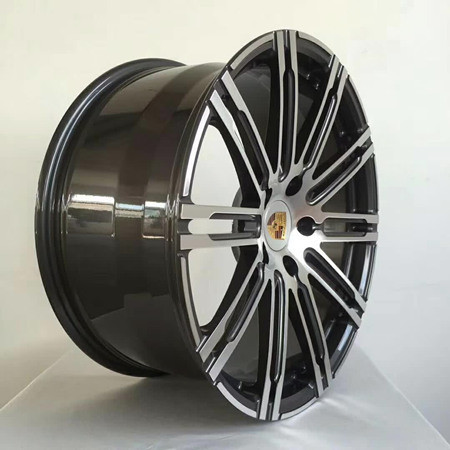 Porsche Panamera 20 inch 10J forged wheels alloy 6061 Bright black machine face and Matte black gray