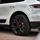 Porsche Cayenne 19 inch 9.5J forged wheels alloy 6061 bright black machine face and Matte black