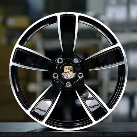 Porsche Macan 22 inch 9.5J forging 5 spokes wheels Aluminum alloy 6061 bright black machine face