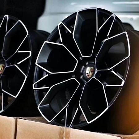 Porsche Cayenne Matte black machine face wheels