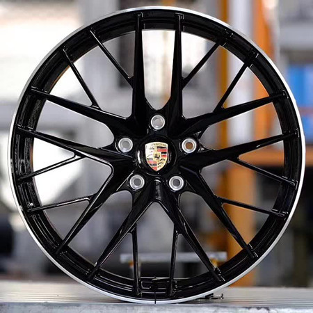 Porsche Panamera 21 inch 9.5J forged wheels alloy 6061 Bright black and gray