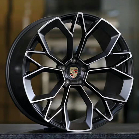 Porsche Cayenne 19 inch 9.5J forged wheels alloy 6061 bright black machine face and Matte black