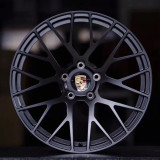 Porsche Cayenne 20 inch 9.5J forged wheels alloy 6061 Bright black machine face and Matte black