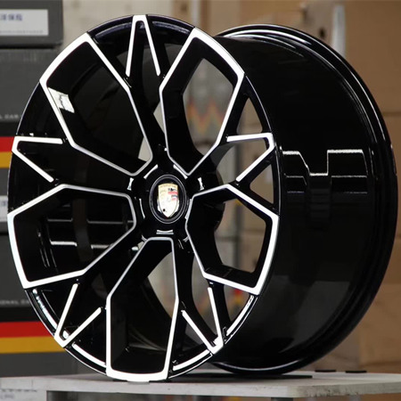 Porsche Cayenne bright black machine face wheels