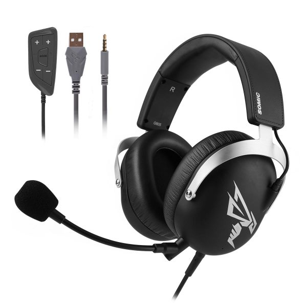 SOMIC G805 7.1 Virtual PS4 Gaming Headset Wired Stereo Headphones with Microphone 3.5mm USB Plug for Xbox Laptop PC Games