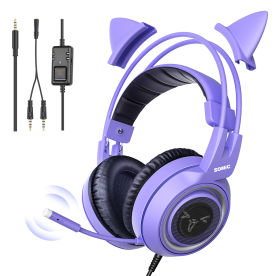SOMIC G951S Purple Stereo Gaming Headset with Mic for PS4 Xbox One PC Phone Detachable Cat Ear 3.5MM Noise Reduction Headphone
