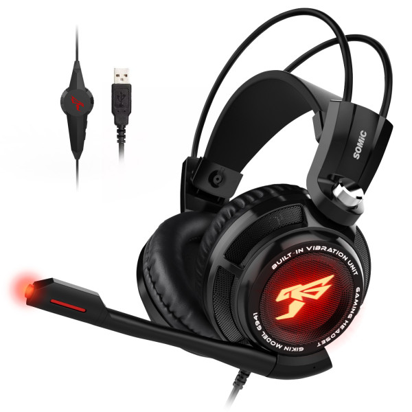 Somic G941 7.1 Sound Vibration Gaming Headset Stereo Bass Noise Cancelling Headphones with Mic LED Light USB Plug for PC Games