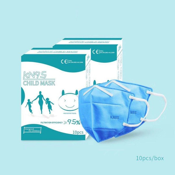 10PCs KN95 Disposable Face Masks for Children, 4 Layer Filtering, Protects Against Dust, Germs, Bacteria, Droplets - Blue