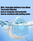 N95+  Face Mask, Reusable, 4-layer Filtering Protection Respiratory Mask - Blue